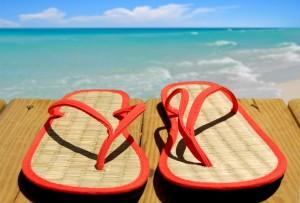 Straw Flip Flops on Beach Pier